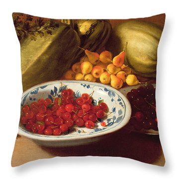 Still Life Of Cherries - Marrows And Pears Throw Pillow by Italian School