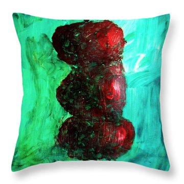 Still Life Red Apples Stacked On Green Table And Wall Fruit Is About To Topple Smush Impressionistic Throw Pillow by M Zimmerman MendyZ