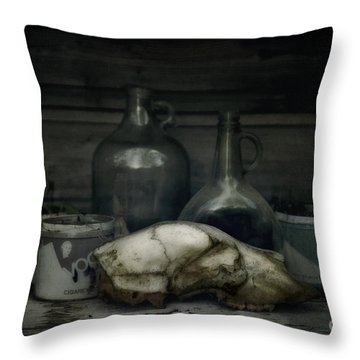 Still Life With Bear Skull Throw Pillow by Priska Wettstein
