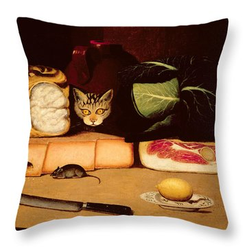Still Life With Cat And Mouse Throw Pillow by Anonymous