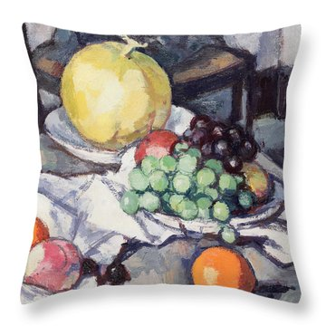 Still Life With Melons And Grapes Throw Pillow by Samuel John Peploe
