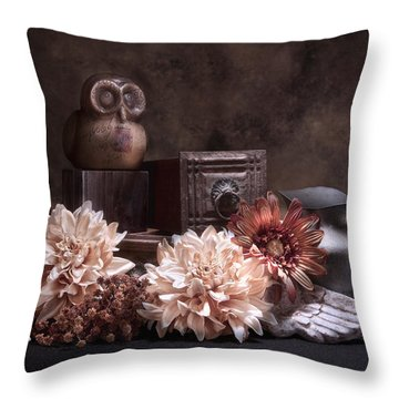 Still Life With Owl And Cherub Throw Pillow
