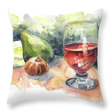 Still Life With Red Wine Glass Throw Pillow by Miki De Goodaboom