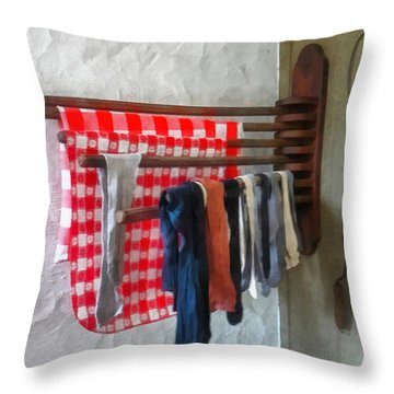 Stockings Hanging To Dry Throw Pillow by Susan Savad