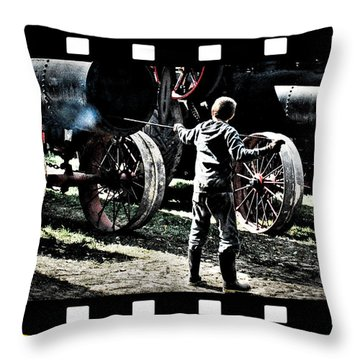 Throw Pillow featuring the photograph Stoking The Fire by Janice Adomeit