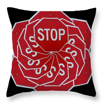 Stop Sign Kalidescope Throw Pillow by Denise Keegan Frawley