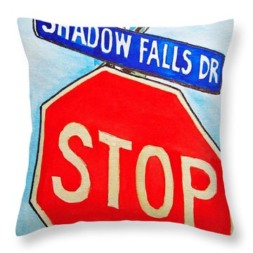 Stop Sign Sketchbook Project Down My Street Throw Pillow by Irina Sztukowski