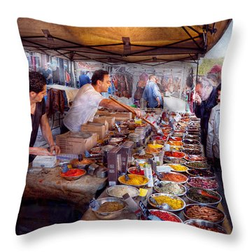 Storefront - The Open Air Tea And Spice Market  Throw Pillow by Mike Savad