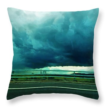 Throw Pillow featuring the digital art Storm Approaching  by Steve Taylor