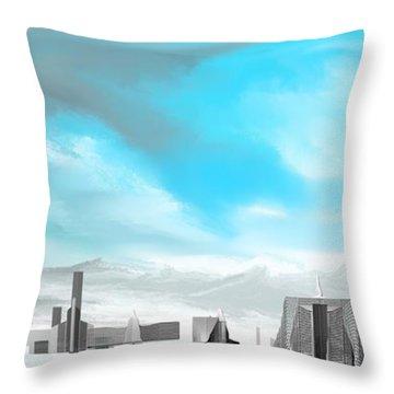 Storm Approachs Strange City Throw Pillow by David Lane