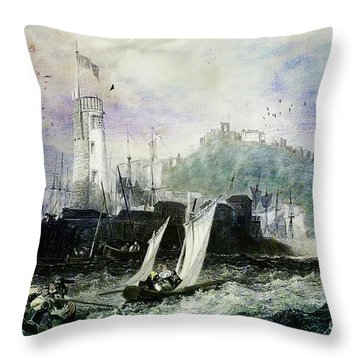 Storm At Scarborough Throw Pillow by Lianne Schneider