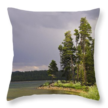 Storm Clouds Over A Lake Throw Pillow by Anne Mott