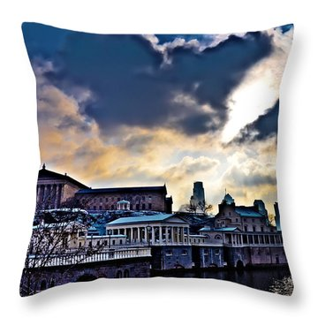 Storm Clouds Over Philadelphia Throw Pillow by Bill Cannon