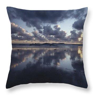 Storm Clouds Over Tidal Flat Throw Pillow