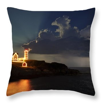 Storm Energizes The Lightning And The Lighthouse Throw Pillow