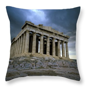 Storm Over The Parthenon Throw Pillow