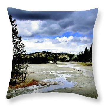 Stormclouds Over Norris Basin Throw Pillow by Ellen Heaverlo