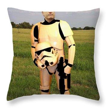 Stormtrooper Mitt Romney Throw Pillow by Paul Van Scott