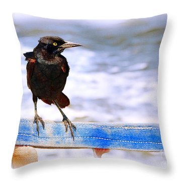 Stowaway On The Ferry Throw Pillow by Judi Bagwell