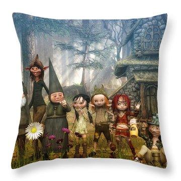 Strange Family Throw Pillow
