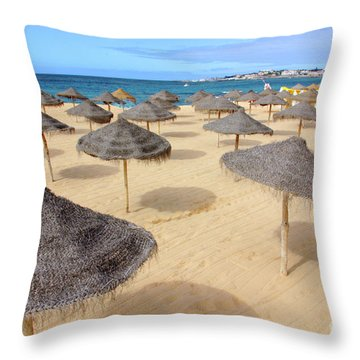 Straw Sunshades Throw Pillow by Carlos Caetano