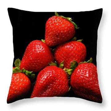Strawberries On Velvet Throw Pillow by Andee Design