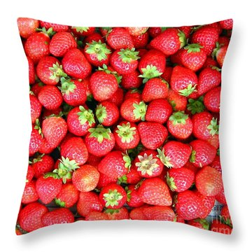 Strawberries  Throw Pillow by Yali Shi