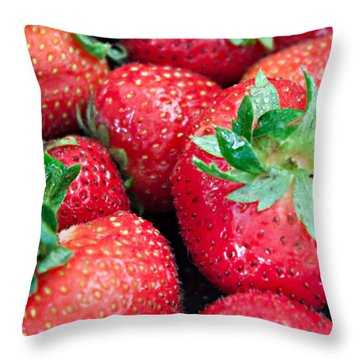 Strawberry Delight Throw Pillow by Sherry Hallemeier