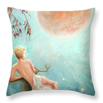 Strawberry Moon Nymph Throw Pillow by Michael Rock