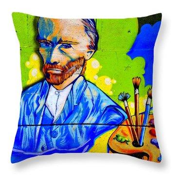 Street Art Van Gogh 1 Throw Pillow by Randall Weidner