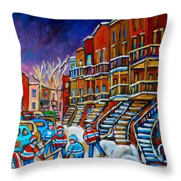 Street Hockey Game In Winter Throw Pillow by Carole Spandau