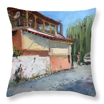 Street In A Greek Village Throw Pillow