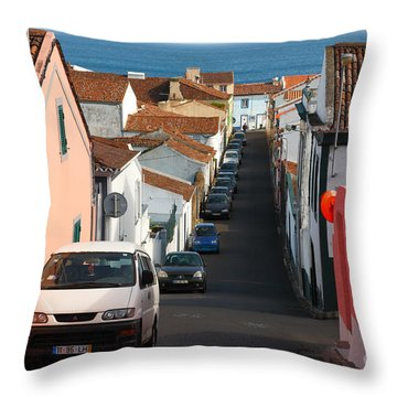 Street In Lagoa - Azores Throw Pillow by Gaspar Avila