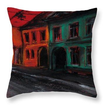 Street In Transylvania 1 Throw Pillow by Mona Edulesco
