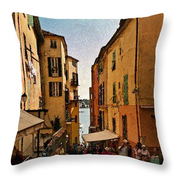 Street In Villefranche II Throw Pillow