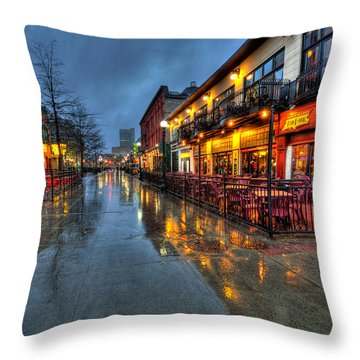 Street Reflections Throw Pillow by Andre Faubert
