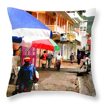 Street Scene In Rosea Dominica Filtered Throw Pillow