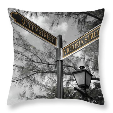 Street Signs On Grand Turk Throw Pillow