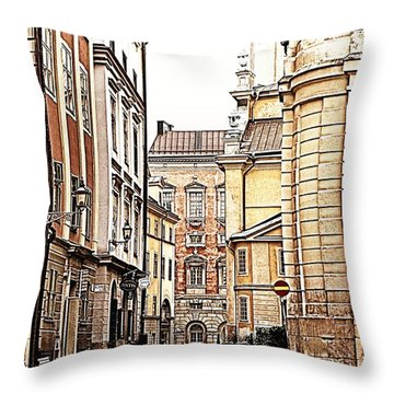Streets Of Gamla Stan Throw Pillow