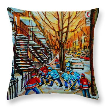 Streets Of Verdun Hockey Art Montreal City Scenes With Winding Staircases And Row Houses Throw Pillow by Carole Spandau