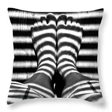 Stripe Socks? Throw Pillow by David Pantuso
