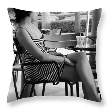 Stripped Dress Lady Throw Pillow by Rob Hans