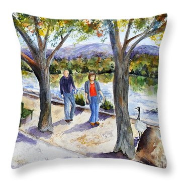 Strolling Virginia Lake Throw Pillow by Vicki  Housel
