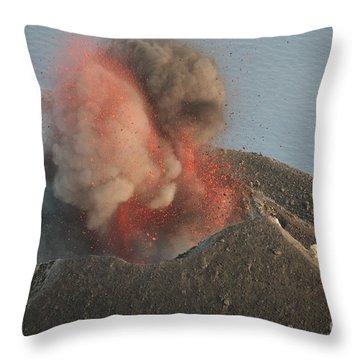 Strombolian Eruption Of Stromboli Throw Pillow by Richard Roscoe