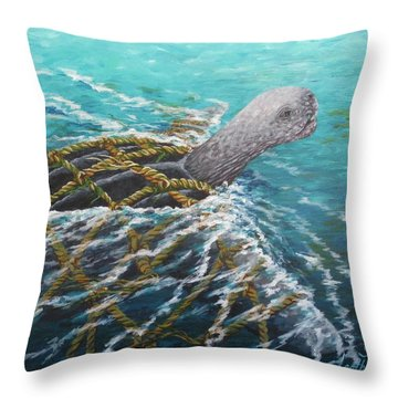 Struggle -leatherback Sea Turtle Throw Pillow