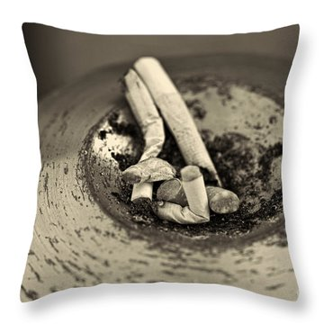 Stubbed Out. Throw Pillow by Clare Bambers
