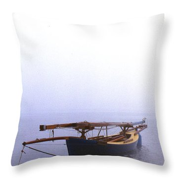 Stuck In Port Throw Pillow by Skip Willits