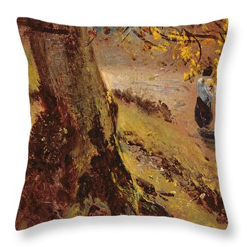 Study Of Tree Trunks Throw Pillow by John Constable