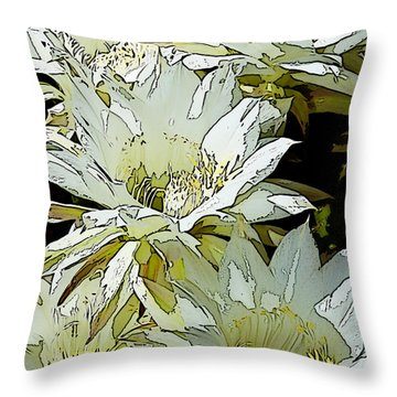 Stylized Cactus Flowers Throw Pillow by Phyllis Denton