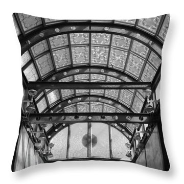 Subway Glass Station In Black And White Throw Pillow by Rob Hans